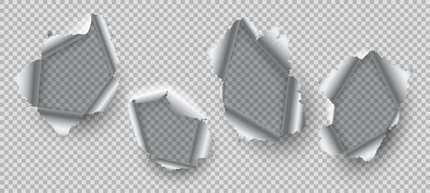 Metalen gat. gescheurde randen van beschadigd staal, gebarsten metaal met gescheurde gaten. open vernietiging kloven realistische vector metalen rippen breken gesneden gebarsten peeling set Premium Vector