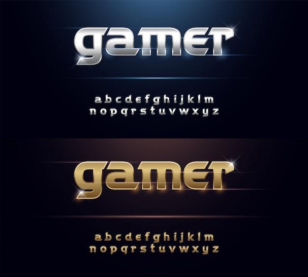 Metalen lettertype elegant zilver en gouden chromen alfabet Premium Vector
