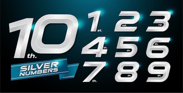 Metalen nummers. zilveren nummers. 1, 2, 3, 4, 5, 6, 7, 8, 9, 10, logo Premium Vector