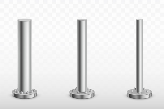 Metalen paalstijlen, stalen buizen cilindervoeten Gratis Vector