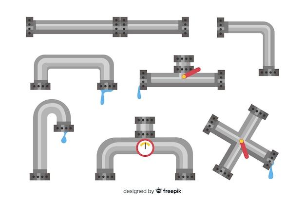 Metalen pijpencollectie met water in plat design Gratis Vector