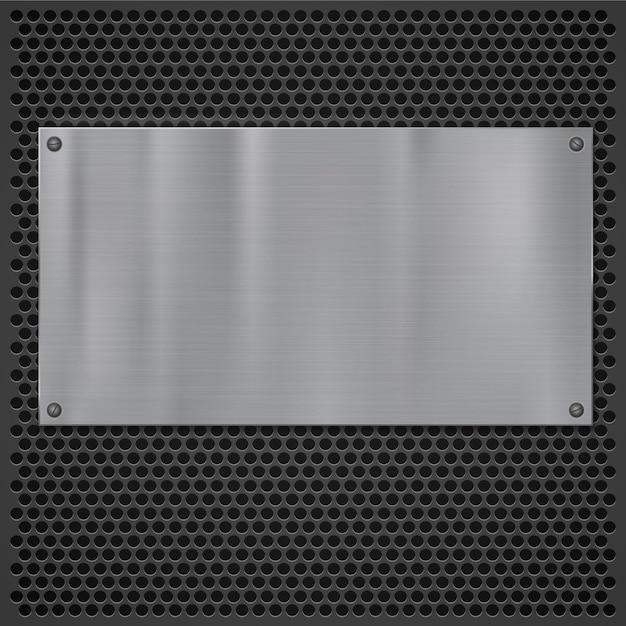 Metalen plaat over rooster textuur Premium Vector