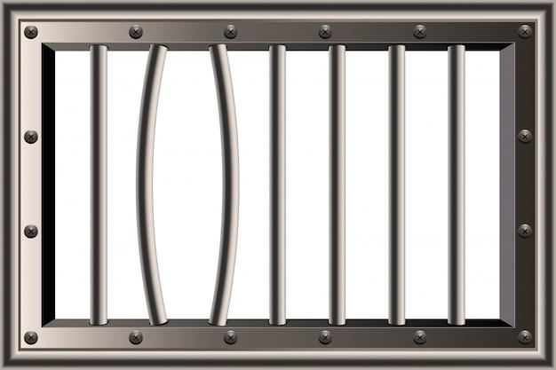 Metalen realistische gedetailleerde gevangenis bars venster. Premium Vector