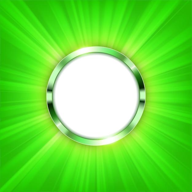 Metalen ring met tekstruimte en groen licht verlicht Premium Vector