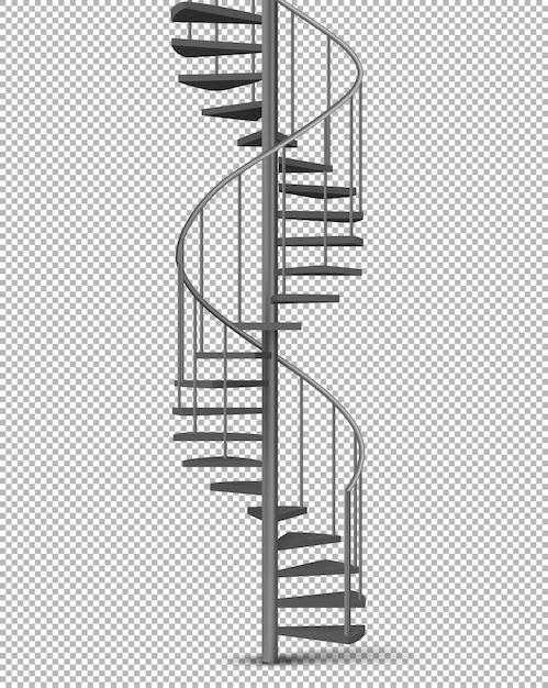 Metalen spiraal, spiraalvormige trap realistische vector Gratis Vector