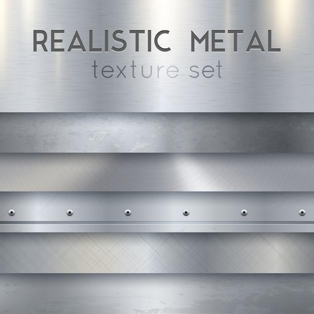 Metalen textuur realistische horizontale monsters set Gratis Vector