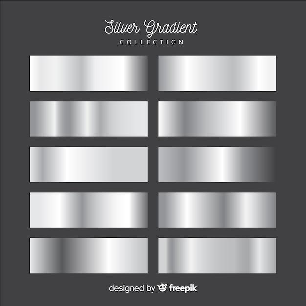 Metalen textuur zilveren verloop set Gratis Vector