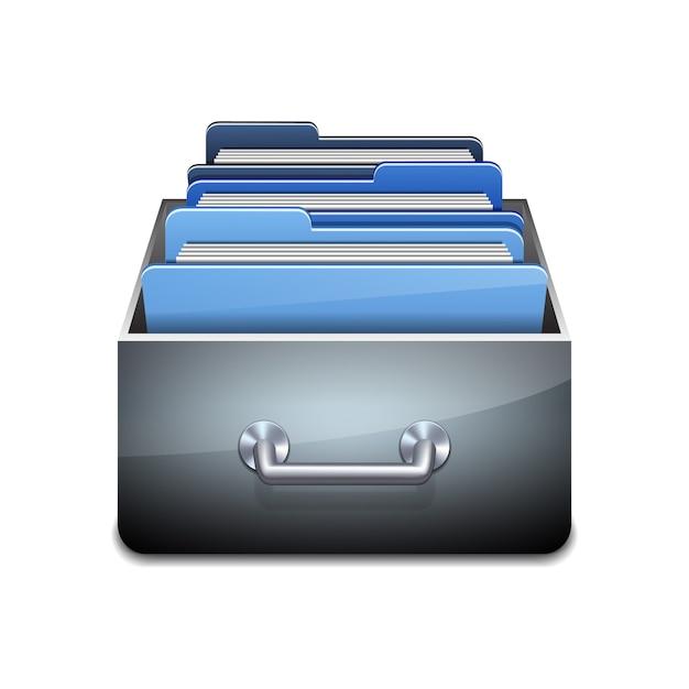 Metalen vulkast met blauwe mappen. geïllustreerd concept van database organiseren en onderhouden. illustratie op witte achtergrond Premium Vector