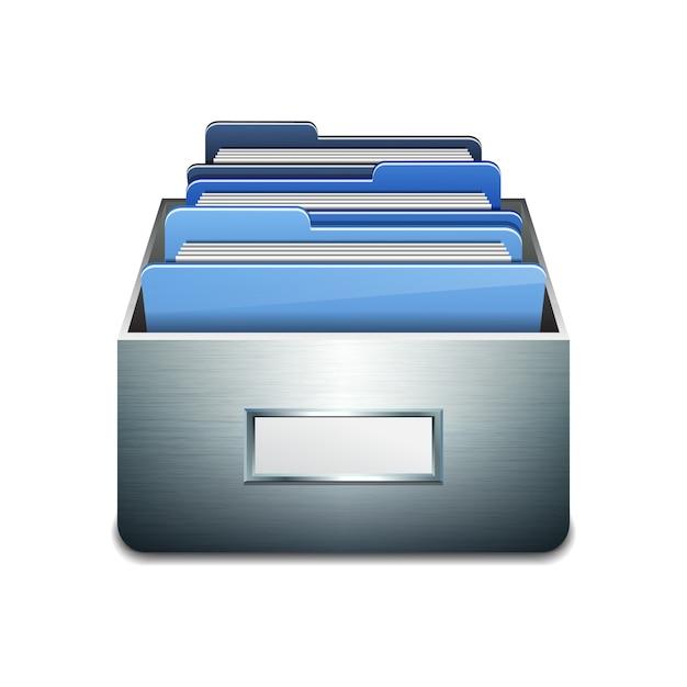 Metalen vulkast met blauwe mappen. geïllustreerd concept van database organiseren en onderhouden Premium Vector