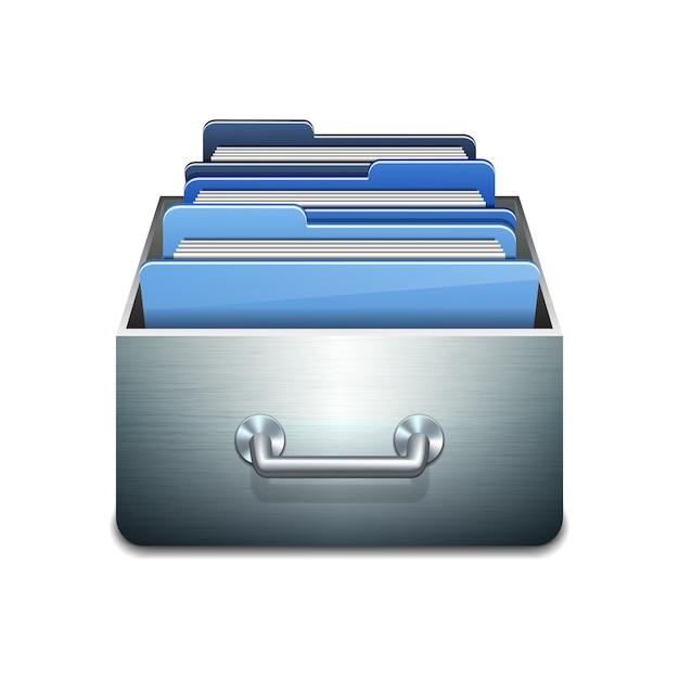 Metalen vulkast met blauwe mappen. geïllustreerd concept van het organiseren en onderhouden van databases. op witte achtergrond Premium Vector