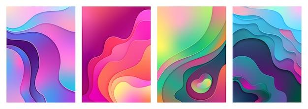 Metallic modern kleurverloop actief gemengd kleurverloop papier gesneden kunst. Premium Vector