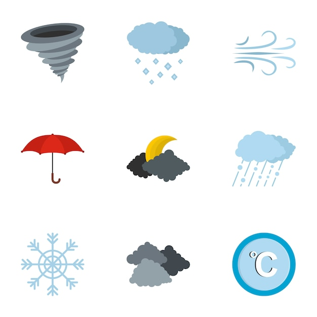 Meteorologische office-pictogrammenset, vlakke stijl Premium Vector