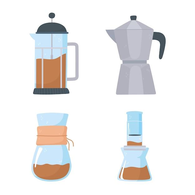 Methoden voor het brouwen van koffie, franse pers, mokapot, chemex iconen set Premium Vector