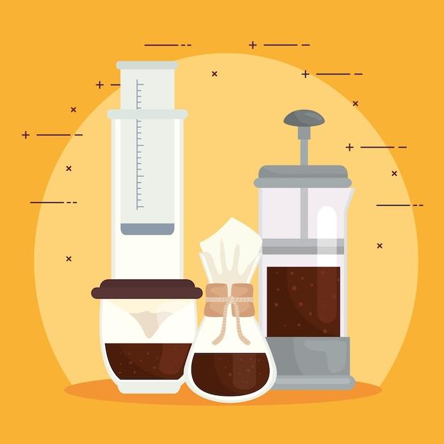Methoden voor het brouwen van koffie instellen pictogrammen op gele achtergrondontwerp Premium Vector