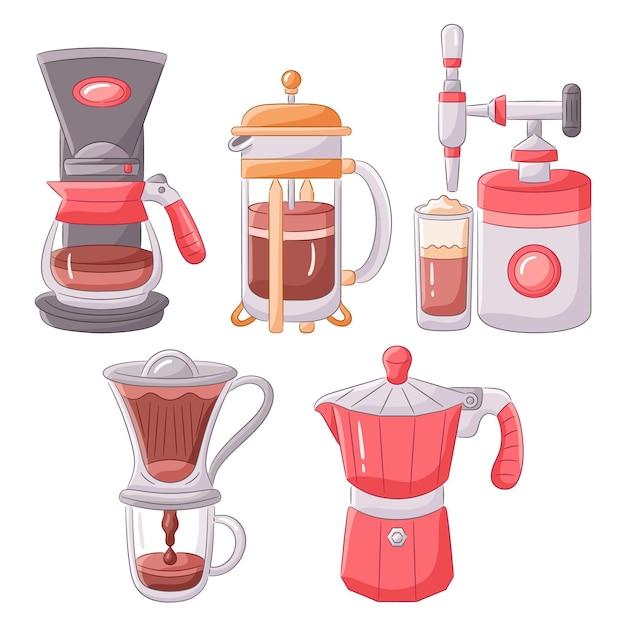 Methoden voor het zetten van koffie Gratis Vector
