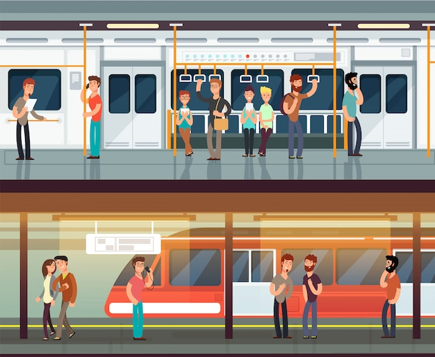 Metro binnen met mensenman en waman. metro platform en treinbinnenland. stedelijke metro Premium Vector