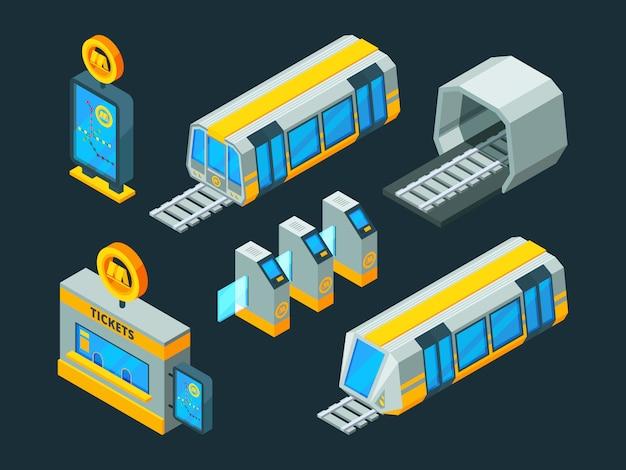 Metro elementen. treinroltrap en metropoort isometrische laag poly 3d afbeeldingen Premium Vector