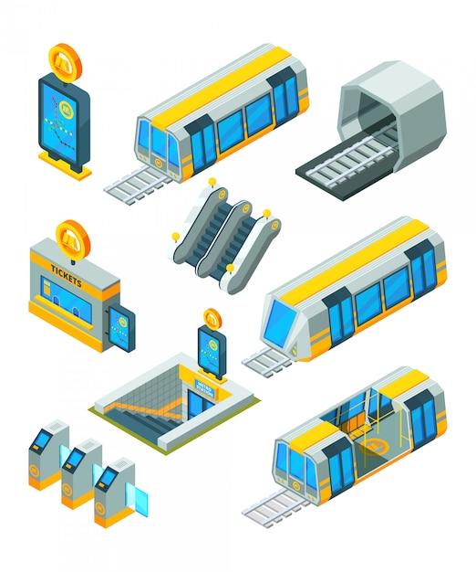 Metro metro elementen. ingangs elektrische poorten en tekens treintunnel met isometrische 3d beelden van de roltrap de moderne metro Premium Vector