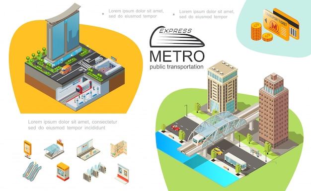 Metro openbaar vervoer sjabloon met metro-elementen moderne gebouwen treinen kaartjes kaarten munten brug voertuigen bewegen op de weg Gratis Vector