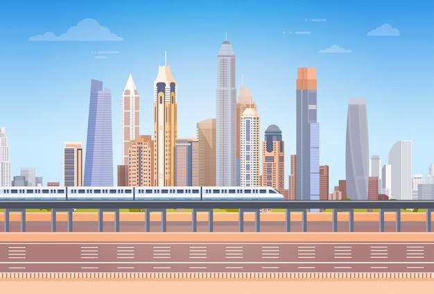 Metro over stad wolkenkrabber bekijk cityscape achtergrond skyline met kopie ruimte Premium Vector
