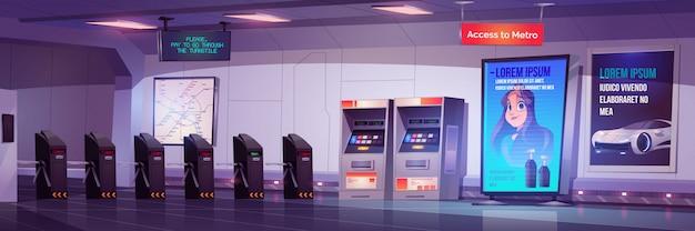 Metro tourniquet toegangspoorten naar metrostation Gratis Vector