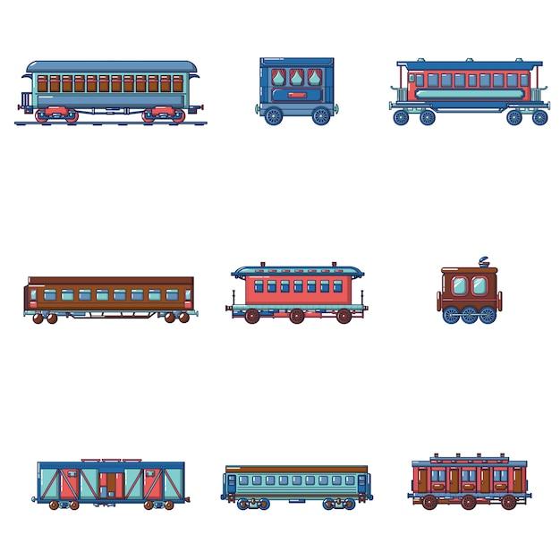 Metro trein metro pictogrammen instellen Premium Vector