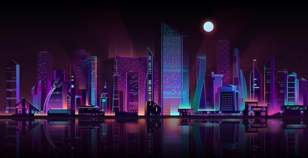 Metropolis nacht landschap neon cartoon vector Gratis Vector
