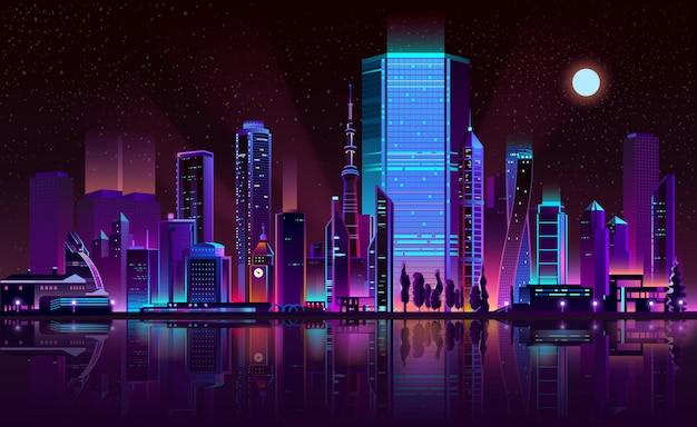 Metropolis nacht skyline neon kleur cartoon vector Gratis Vector