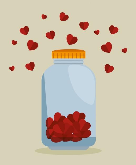 Metselaarkruik met harten voor liefdadigheidsschenking Gratis Vector