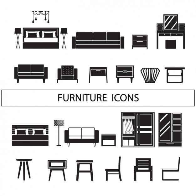 Meubelen iconen collectie Gratis Vector