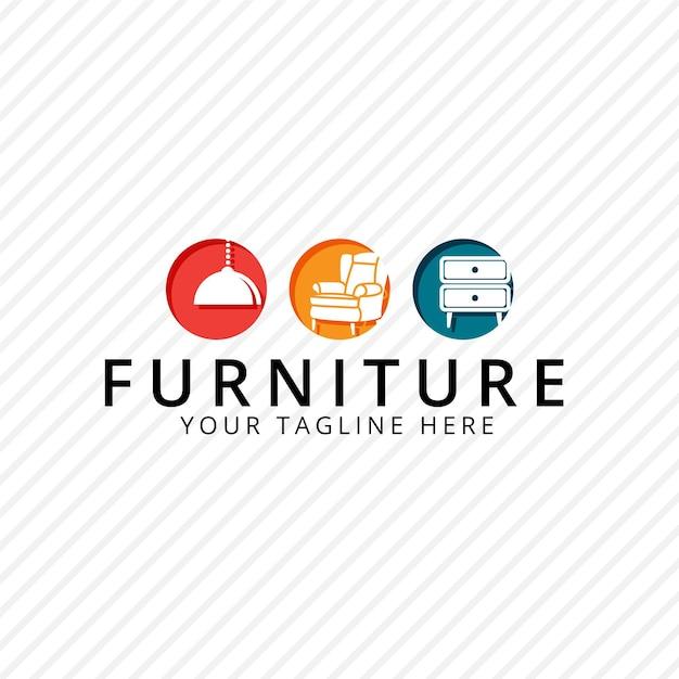 Meubellogo met meubels Gratis Vector