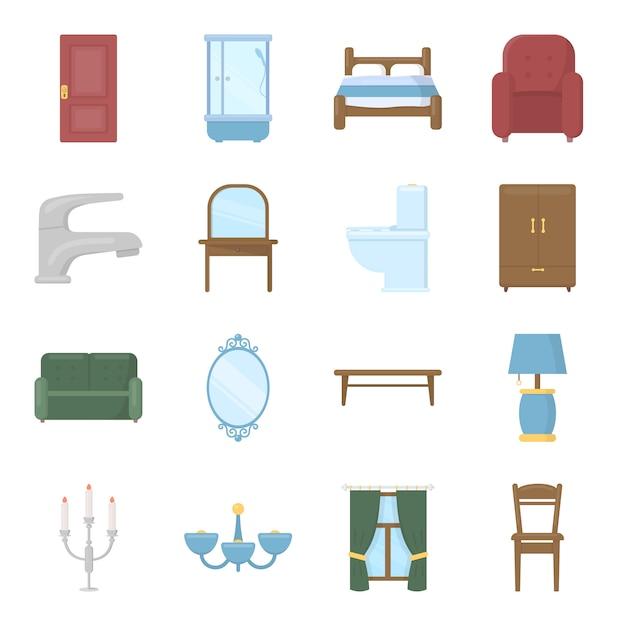 Meubels cartoon vector icon set. vector illustratie van interieur meubels. Premium Vector