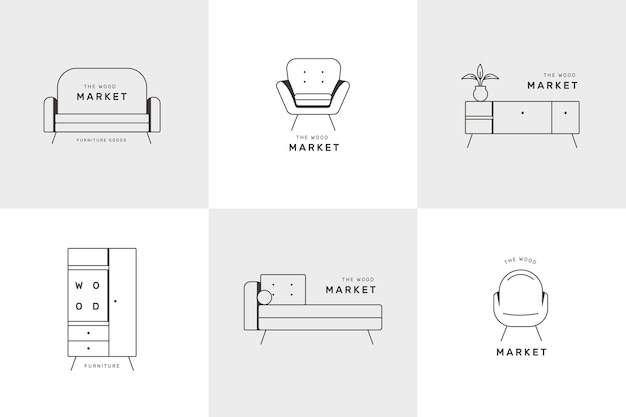 Meubels logo collectie ontwerp Gratis Vector