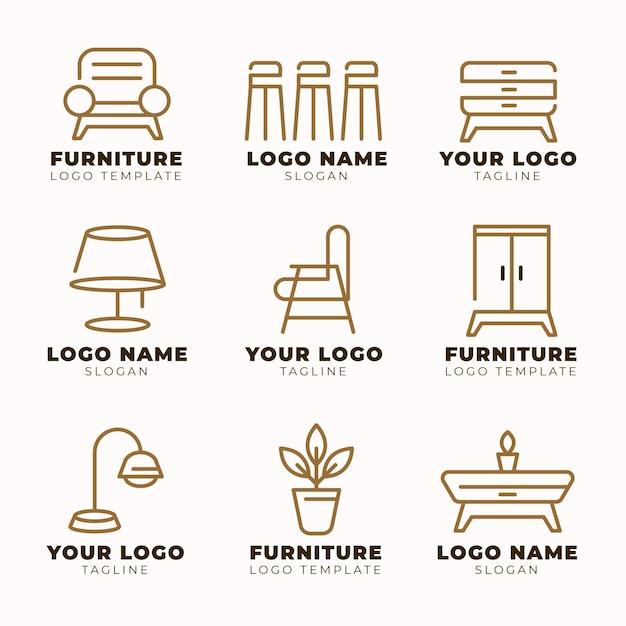 Meubels logo collectie Gratis Vector