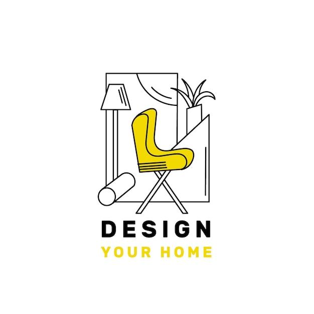 Meubels logo sjabloon met minimalistische elementen Gratis Vector