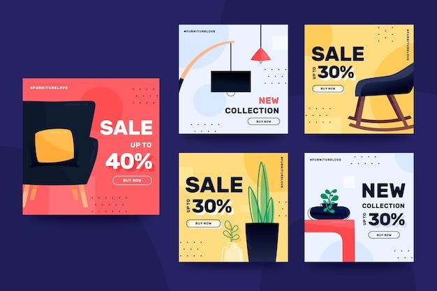 Meubels verkoop instagram post collectie Premium Vector