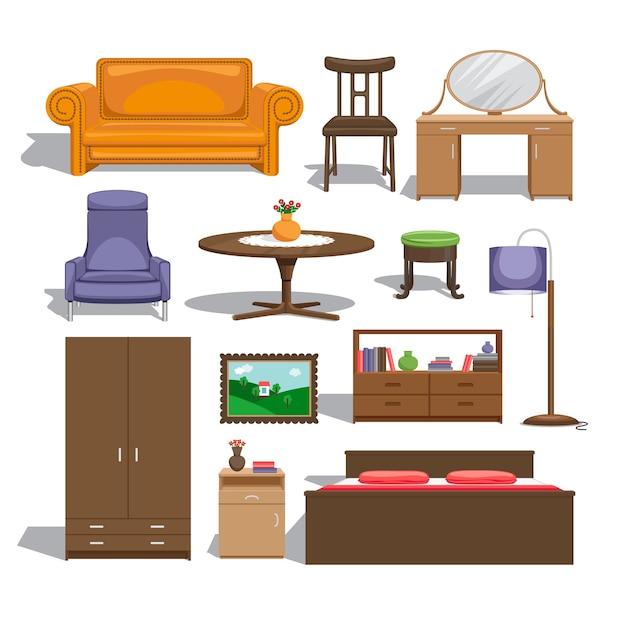 Meubels voor slaapkamer. lamp en tafel, stoel en schilderij, ladekast en kleerkast, tweepersoonsbed en bank, tafel en interieur. Gratis Vector