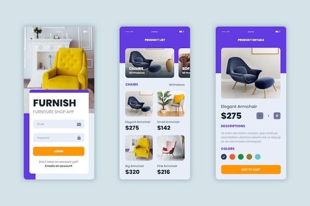 Meubels winkelen app-collectie Gratis Vector