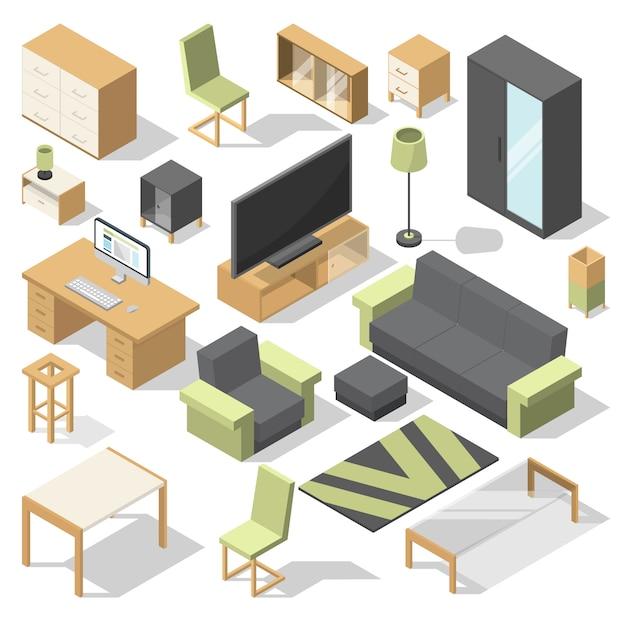 Meubelset voor slaapkamer. vector isometrische elementen voor moderne woning Premium Vector