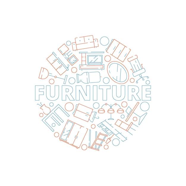 Meubilair achtergrond. binnenlandse hulpmiddelen in cirkel vormen het huishouden van het de lijstbed van de bankstoel Premium Vector