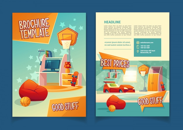 Meubilair winkel brochure, concept met cartoon decor elementen voor de kinderkamer. Gratis Vector
