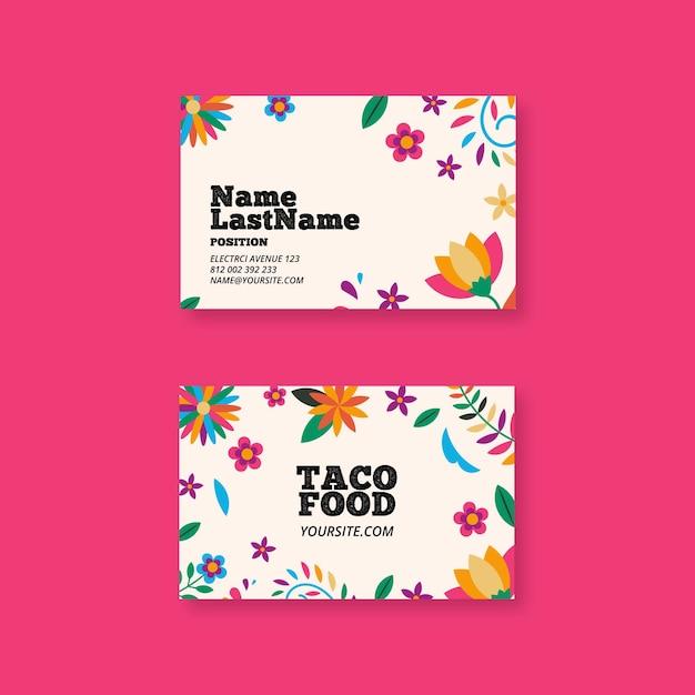 Mexicaans eten horizontaal visitekaartje Premium Vector