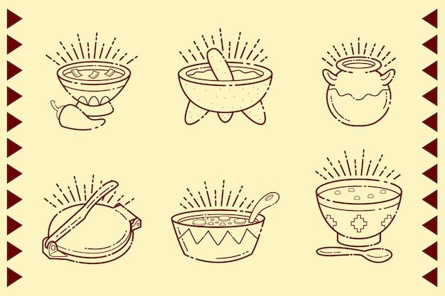 Mexicaans eten in geïsoleerde kommen Premium Vector