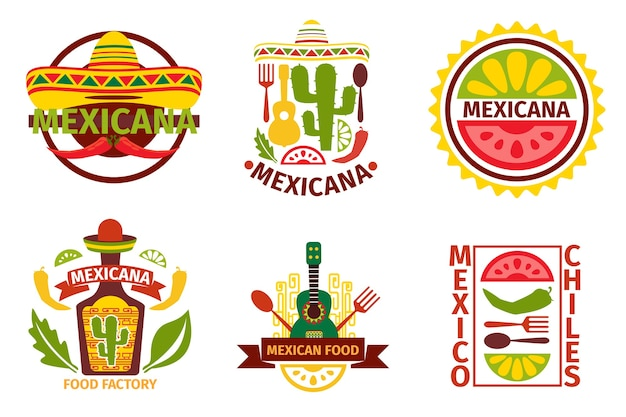 Mexicaans eten logo, labels, emblemen en badges. sombrero en tequilafles, gitaarelement, vectorillustratie. mexicaans eten vector badges en mexicaans eten vector labels Gratis Vector