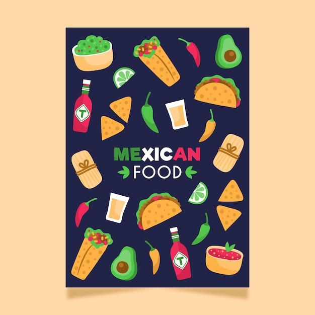 Mexicaans eten poster sjabloon Gratis Vector