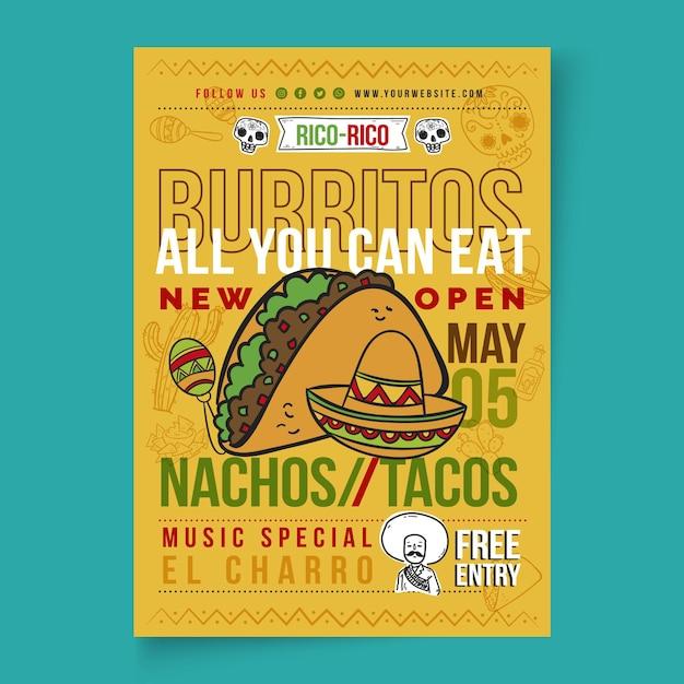 Mexicaans eten poster Premium Vector