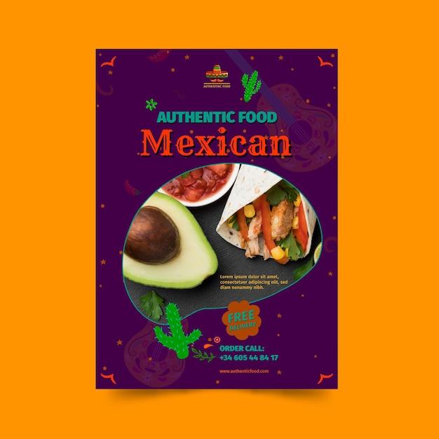 Mexicaans eten restaurant poster sjabloon Gratis Vector