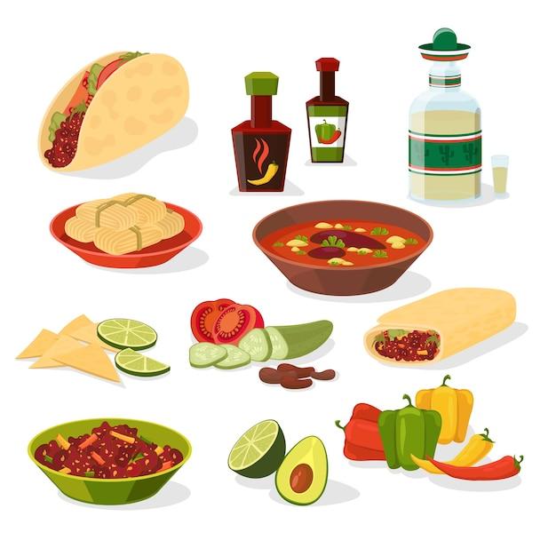 Mexicaans eten set. taco en drankje, lunchmenu en peper en vlees, burrito en chili. Gratis Vector