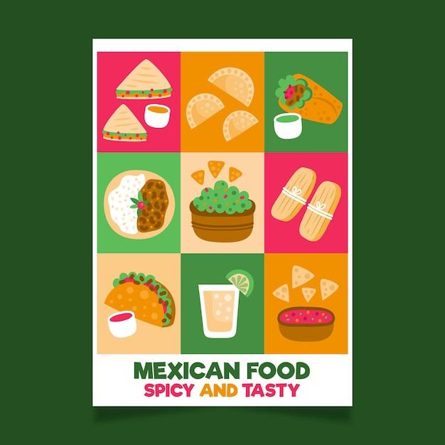 Mexicaans eten sjabloon folder Gratis Vector