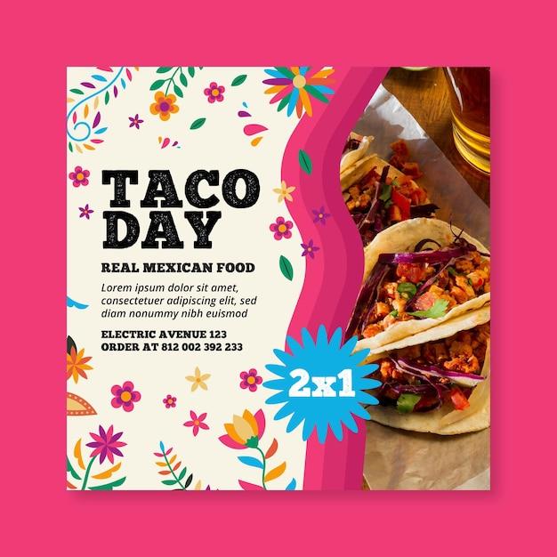 Mexicaans eten vierkante flyer Premium Vector